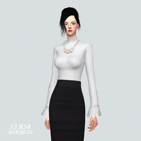 SIMS4 Marigold: Lace Turtleneck top