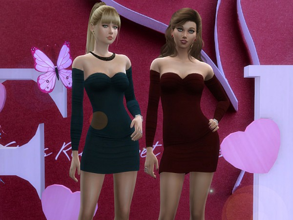 The Sims Resource: Valentine2018 Cocktail dress by Birba32