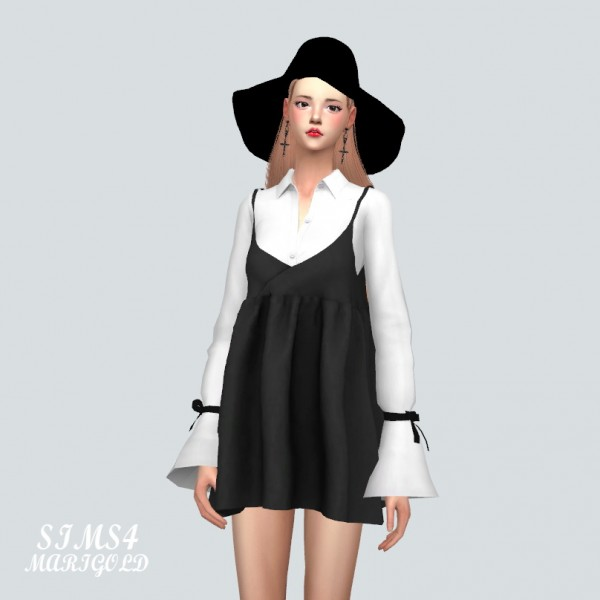 SIMS4 Marigold: Bustier Mini Dress With Trumpet Sleeve Shirt