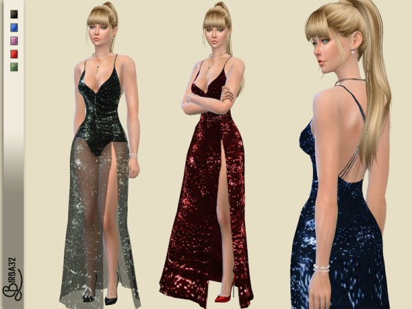 The Sims Resource: Valentine Long Dress by Birba32