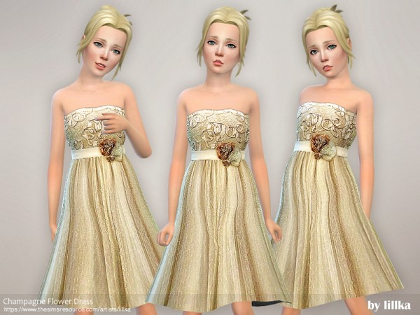 The Sims Resource: Champagne Flower Dress by lillka