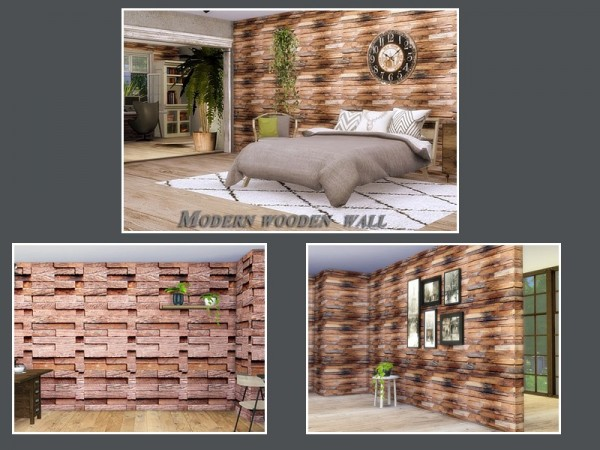 The Sims Resource: Modern wooden wall by Danuta720