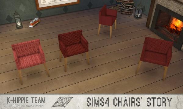Simsworkshop: 10 Chairs Ekai serie In Red by k hippie