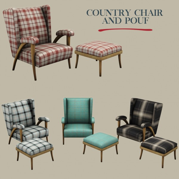 Leo 4 Sims: Country chair and pouf