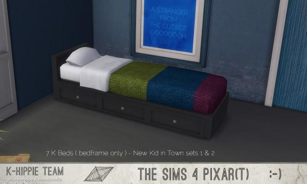 Simsworkshop: 7 K Bedframes only New Kid in Town set 1 by k hippie