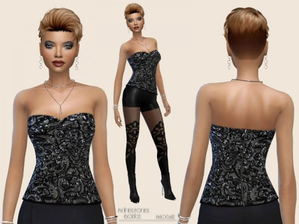 The Sims Resource: Rhinestones Bodice by Paogae