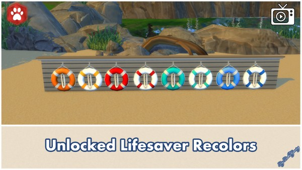 Mod The Sims: Unlocked Wooden Sailor Statue and Lifesaver by Bakie