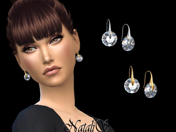 The Sims Resource: Round crystal drop earrings by NataliS