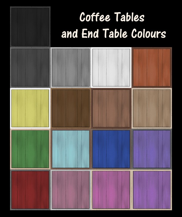 Mod The Sims: End Table With Coffee Table Squared Recolours by Simmiller