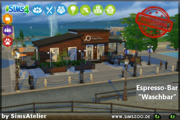 Blackys Sims 4 Zoo: Espresso Bar Waschbar by SimsAtelier