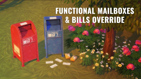 Mod The Sims: Functional Mailboxes and bills override by flamedeyes