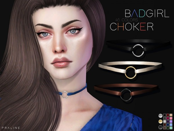 The Sims Resource: Badgirl Choker by Pralinesims