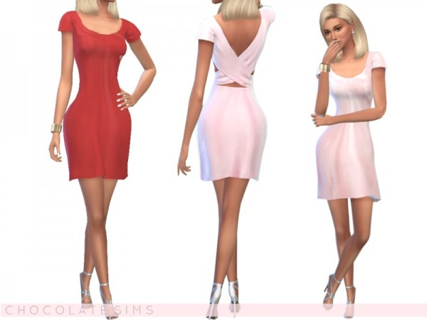 The Sims Resource: Midi Satin Dress by