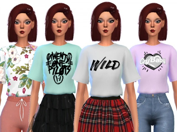 The Sims Resource: Jazzy Cropped Tops by Wicked Kittie