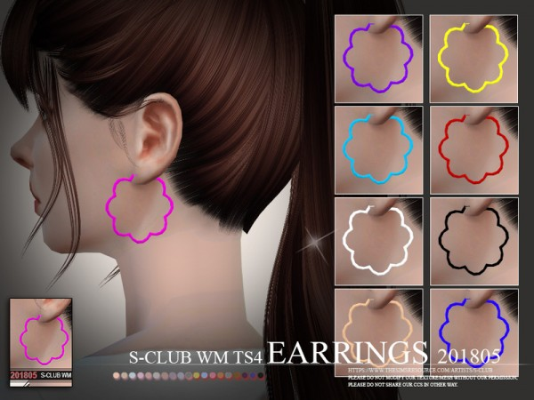 The Sims Resource: Eariings F 201805 by S Club
