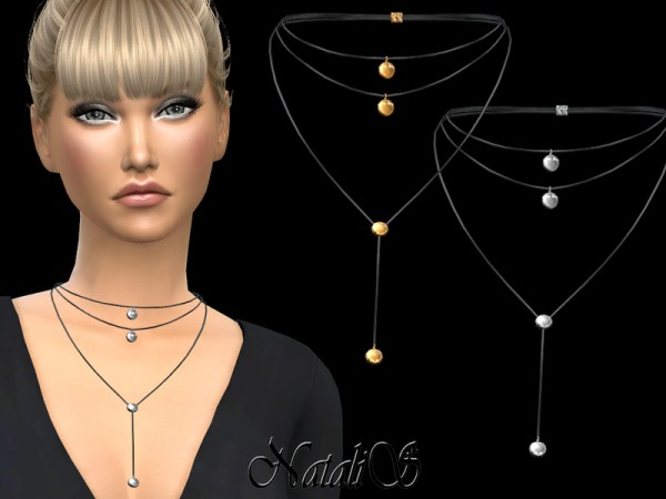 The Sims Resource: Round Pendant Layered Necklace by NataliS