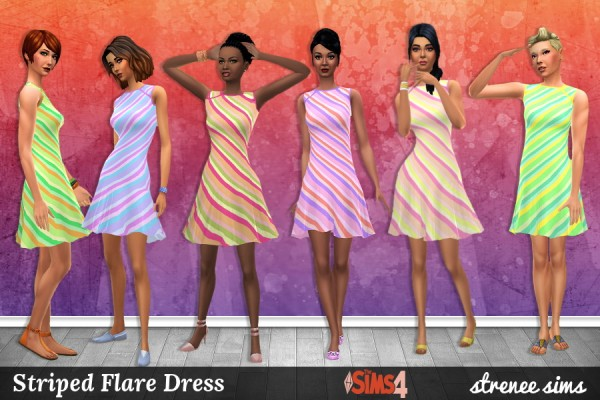 Strenee sims: Spots and Stripes Flare Dresses
