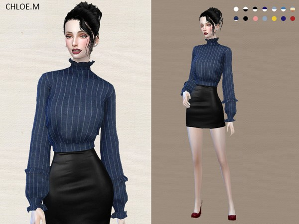 The Sims Resource Blouse With Falbala By Chloemmm Sims