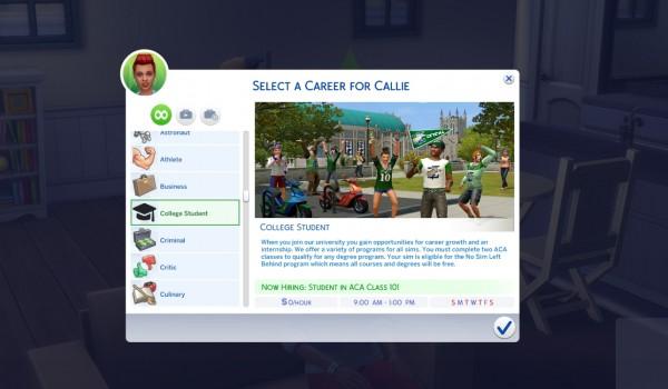 Mod The Sims: University Career Mod by kawaiistacie • Sims 4 Downloads