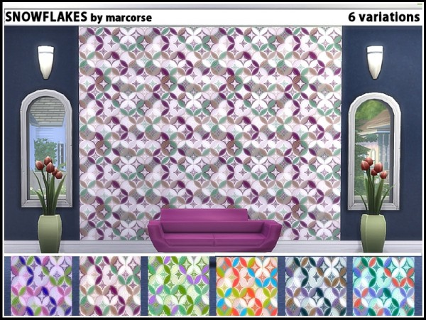 The Sims Resource: Snowflakes walls by marcorse