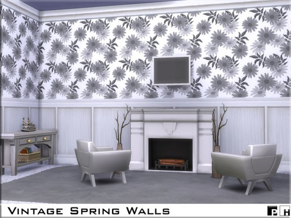 The Sims Resource: Vintage Spring Walls by Pinkfizzzzz