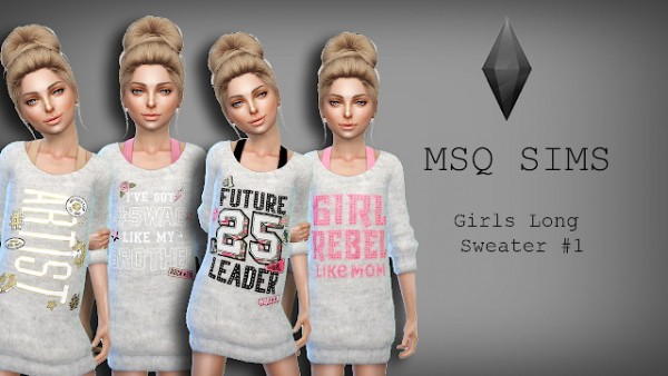 MSQ Sims: Girls Long Sweater 1