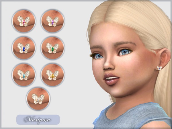 The Sims Resource: Mariposa Earrings by feyona