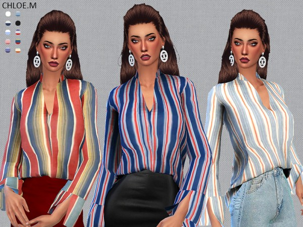 The Sims Resource: Blouse for her by ChloeMMM