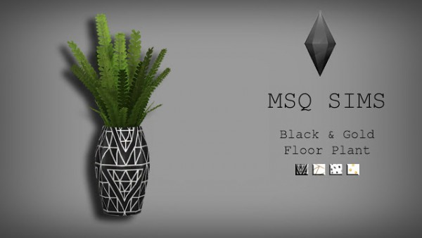 MSQ Sims: Black and Gold Floor Plant