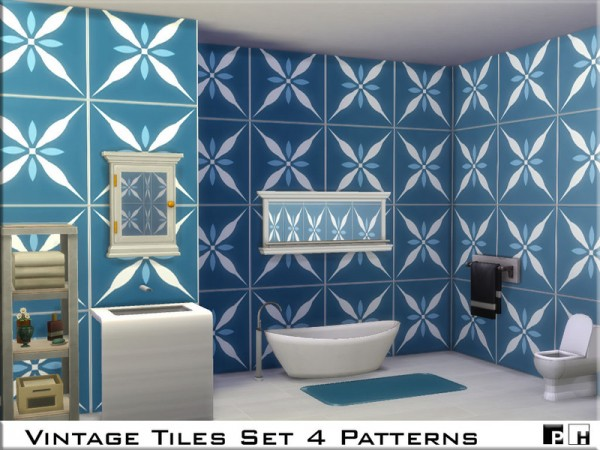 The Sims Resource: Vintage Tiles Set by Pinkfizzzzz