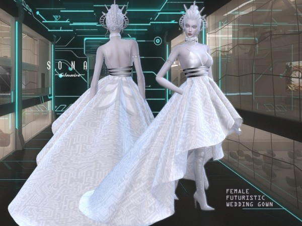 The Sims Resource Sona Futuristic Wedding Gown By