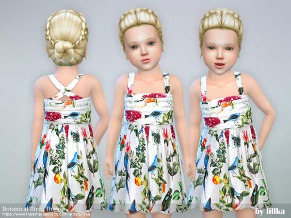 The Sims Resource: Botanical Birds Dress by lillka
