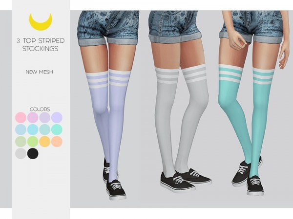 The Sims Resource: Stockings   Top 3 Striped by kalewa a
