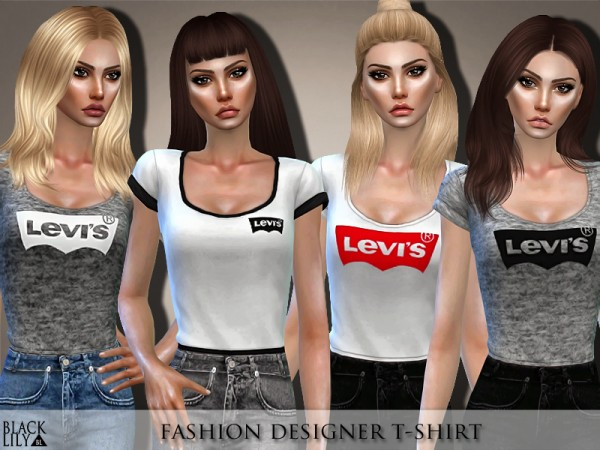 The Sims Resource: Fashion Designer T Shirt by Black Lily