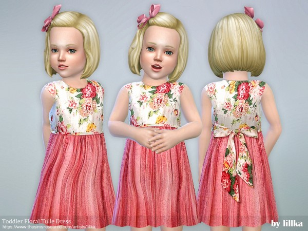The Sims Resource: Toddler Floral Tulle Dress by lillka