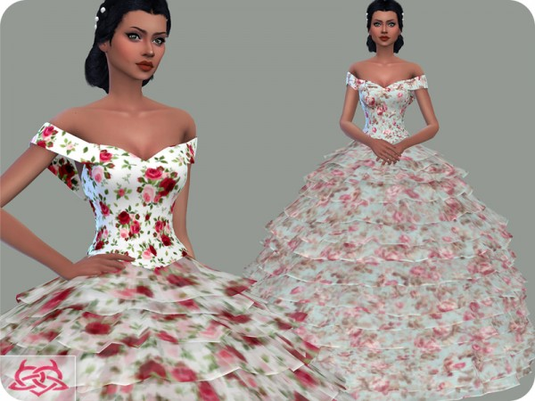 The Sims Resource: Wedding Dress 17 recolor 1 by Colores Urbanos