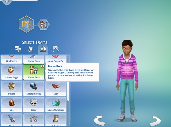 Mod The Sims: Hates Cats/Dogs/Pets Traits by GoBananas
