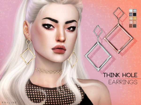 The Sims Resource: Think Hole Earrings by S Club