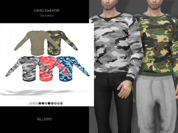 The Sims Resource: Camo Sweater by Bill Sims