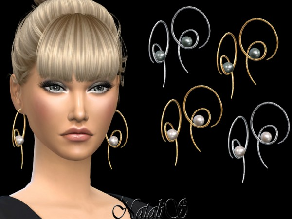 The Sims Resource: Twirl Earrings With Pearl by NataliS