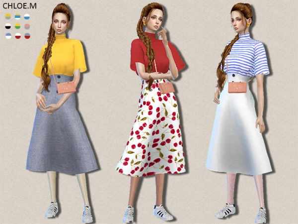 The Sims Resource: Tshirt and skirt by ChloeMMM