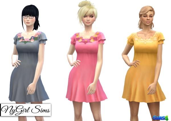 NY Girl Sims: Floral collar spring dress
