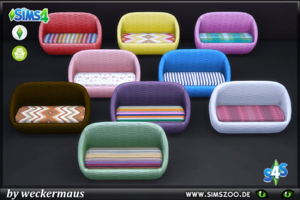 Blackys Sims 4 Zoo: Endless wicker sofa