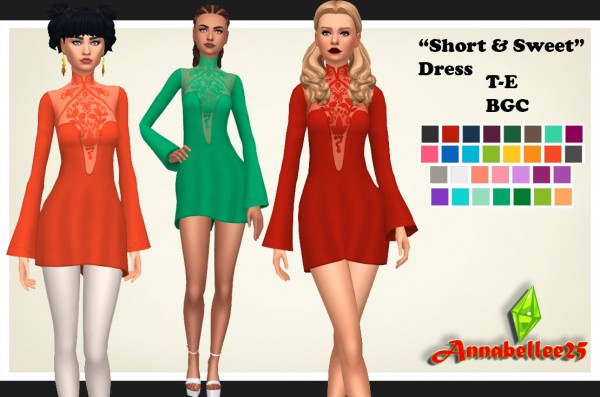 Simsworkshop: Short and Sweet Dress by Annabellee25