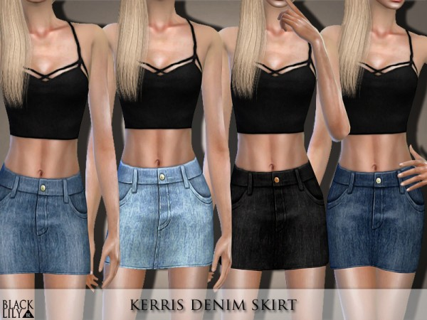 The Sims Resource: Kerris Denim Skirt by Black Lily