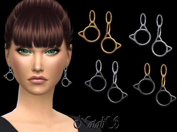 The Sims Resource: Kitty drop earrings by NataliS