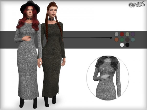 The Sims Resource: Knit Metallic Dress by OranosTR