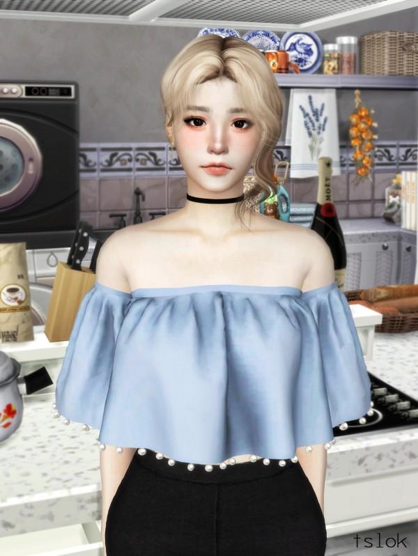 Tslok: Sunny Off Shoulder top pearls