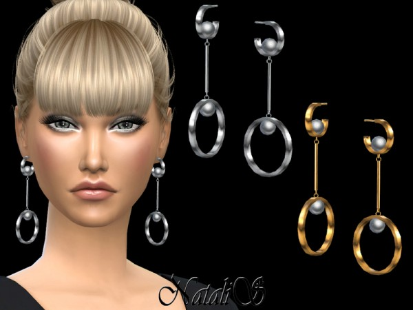 The Sims Resource: Faux pearl embellished hoops earrings by NataliS