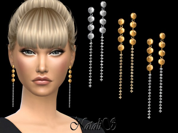 The Sims Resource: Disc drop crystals link earrings by NataliS